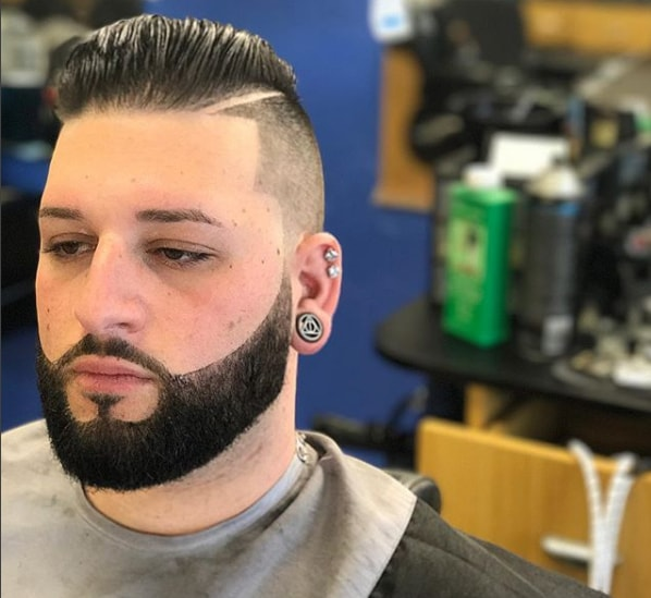 Comb Over High Fade with Beard