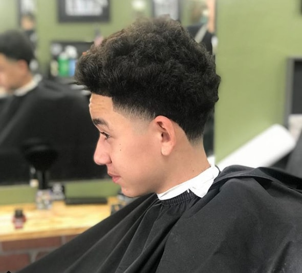 Curly Comb Over Low Fade Haircut