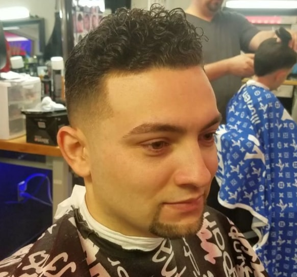 Curly Comb Over Mid Fade Haircut
