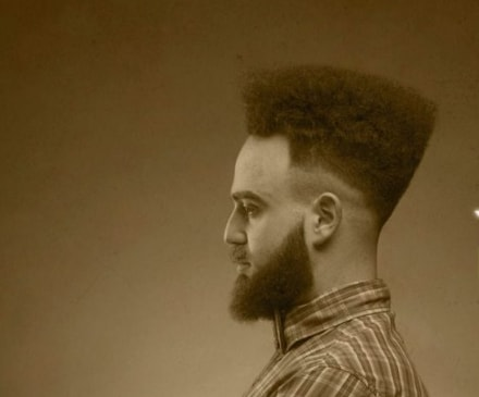Curly Flat Top Haircut With Beard