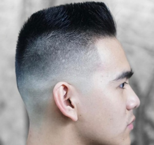 Flat Top with Army Style Men Hairstyle
