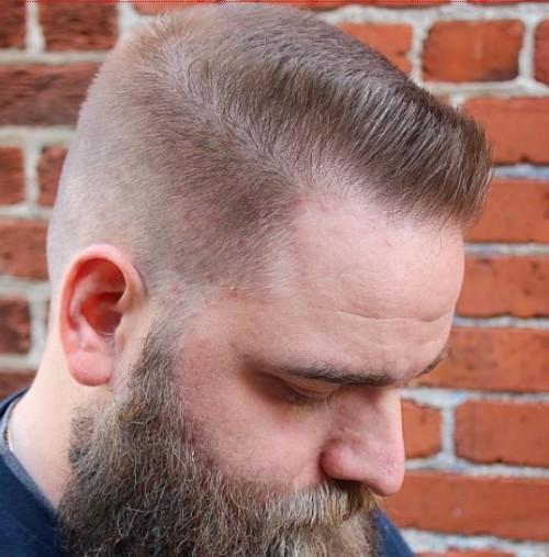 Flat Top with Light Side + Beard - Men Hairsyle