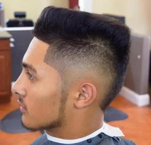 Flat-Top with Partial Fade Men Haircut