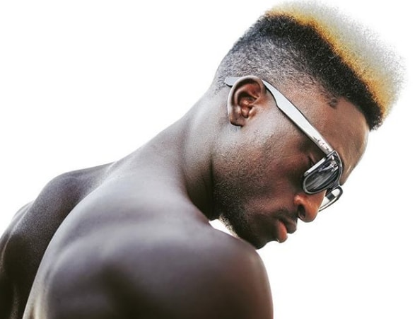 Black Man Flat Top with Color Design Hairstyle