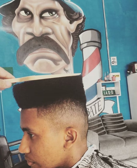 Flat Top with High Fade Men Hairstyle