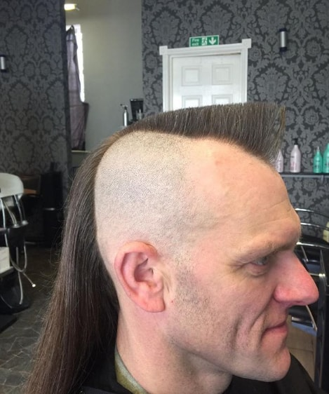 Funky mohawk style with long ponytail