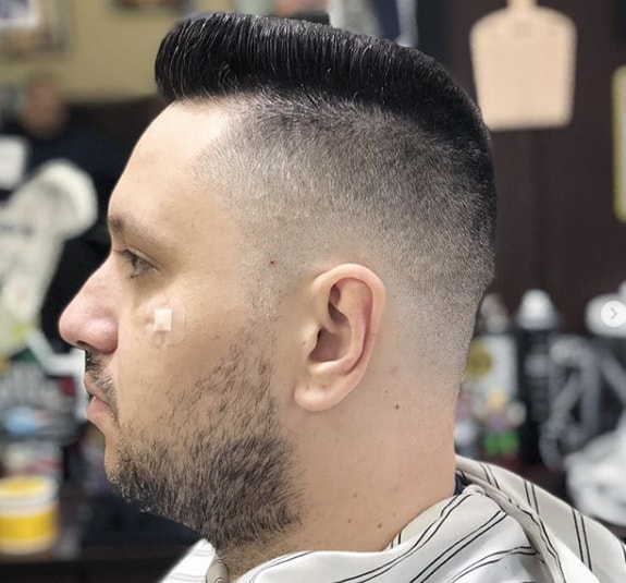 side swept with short flat top men hairstyle