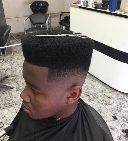 Simple Flat Top with Faded Hairstyle for Men