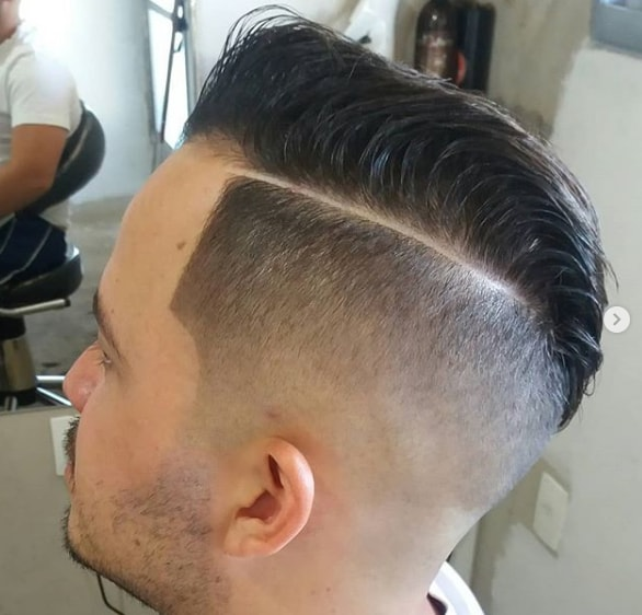 Hard Parted Undercut with Combover Flat Top