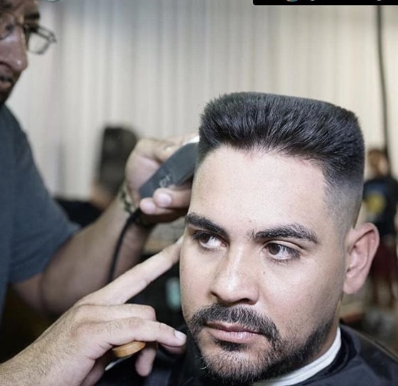 Short Flat Top with Extended Goatee Men Hairstyle