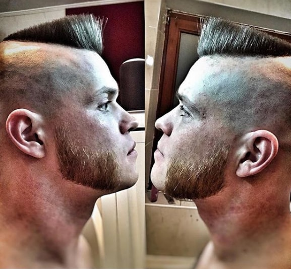 mutton chops beard with Slanted flat top men hairstyle