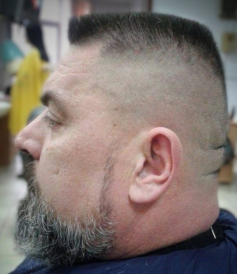 chin curtain flat top men hairstyle