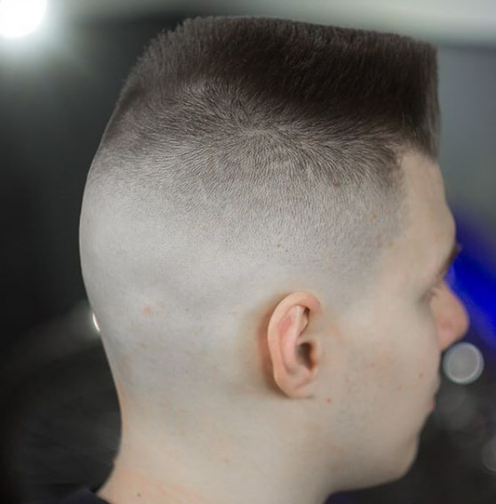 Shaved back and faded high skin undercut with flat top