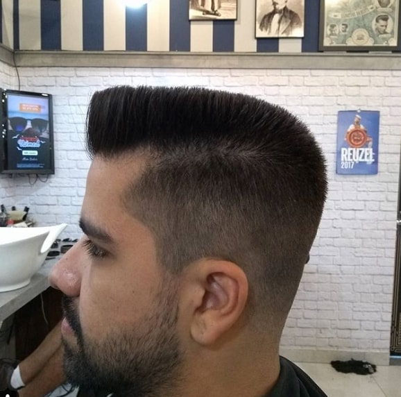 Flat Top with High Drop Fade Men Hairstyle
