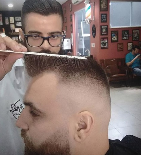 slanted and flat on top men hairstyle