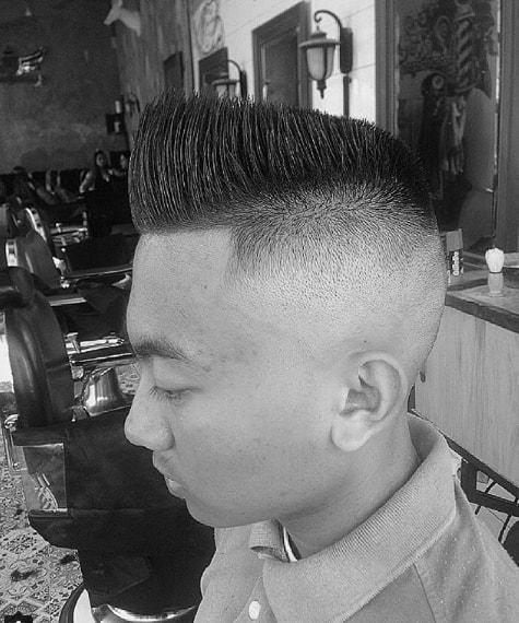 Slanting flat top men hairstyle