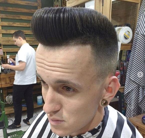 Flat Top Pompadour Men Hairstyle