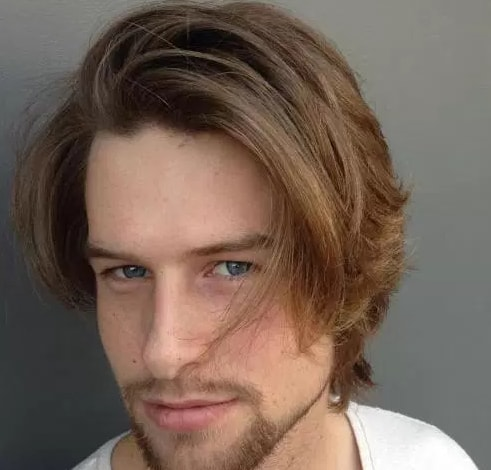 Grown Out Layers - Brown Color Men Hairstyle