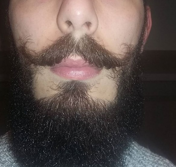 bushy and textured handlebar mustache