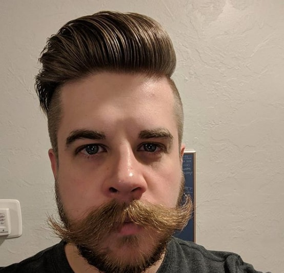 Thick bushy handlebar mustach