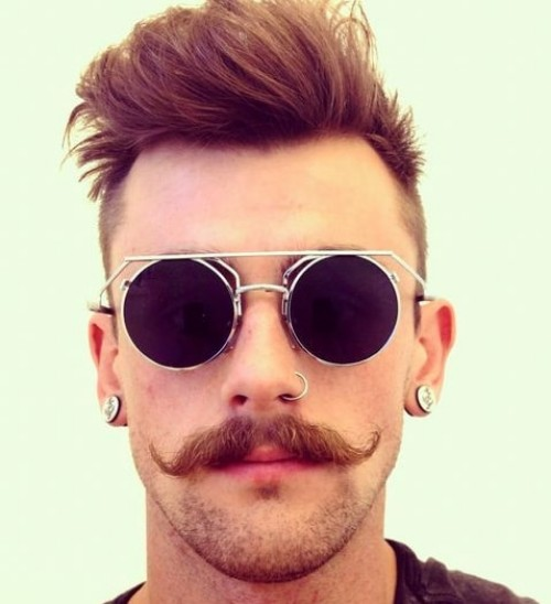 Handlebar Mustache with a Stubble