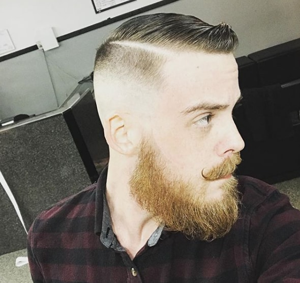High Fade Comb Over Haircut with Beard Style