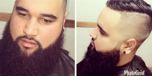 High Fade, Short hair with Long Beard