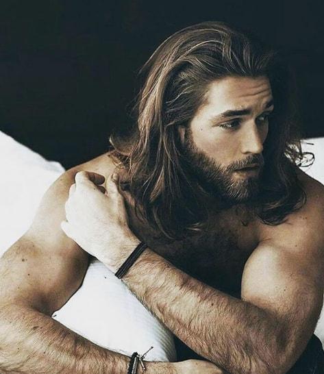 Long Shoulder Length Hair With Beard