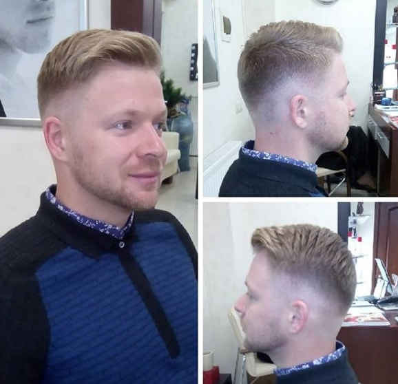 Low Fade with Short Fringe Men Hairstyle