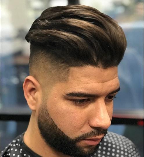 Medium Length Comb Over Fade with Beard