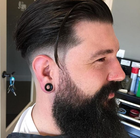Mid Fade Comb Over Medium Hairs with Long Beard