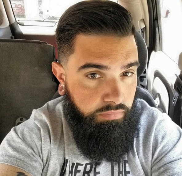 Mid Fade Comb Over with Beard