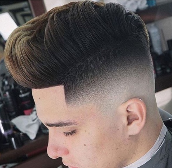 Mid Fade and Back Brushed - Medium Hairstyle for Men