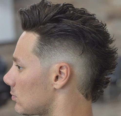 Modern Faux Hawk with Low Burst Fade Men Hairstyle
