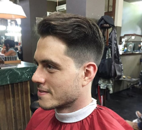 Side Parted Comb Over Fade haircut