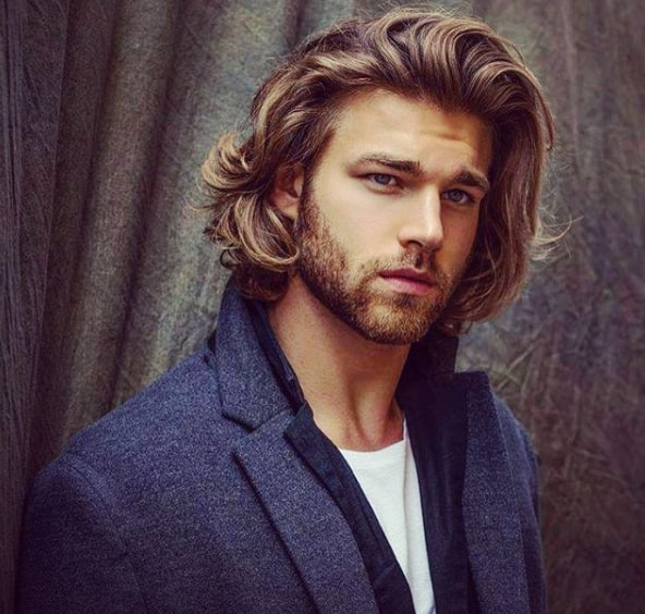 Side Parted Long Hairstyle for Men