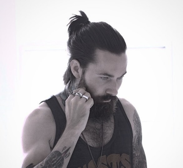 Silky Long with Simple Ponytail Men Hairstyle