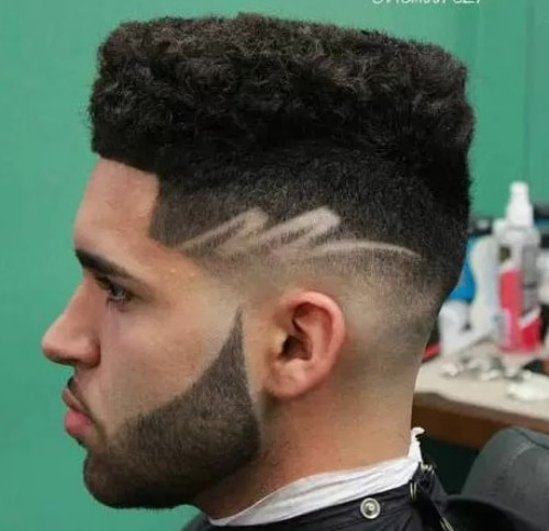 Textured Flat Top with Designs Men Hairstyle