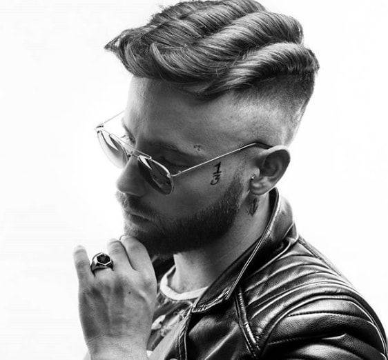 Wavy Haircut with Low Fade Men Hairstyle