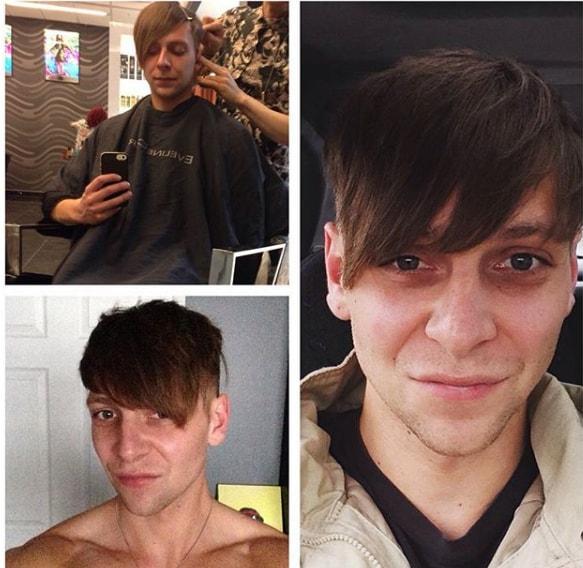 Angular Fringe Plus Skin Fade Men Hairstyle