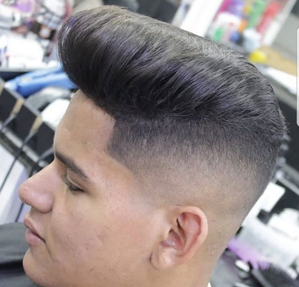 Flat Top Pompadour With Low Fade
