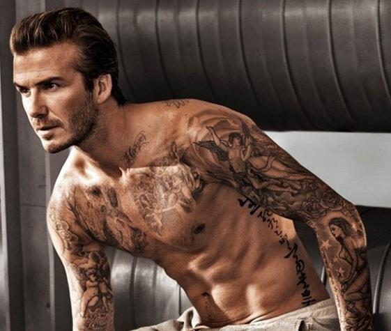 David Beckham Hairstyle with Boy Tattoos