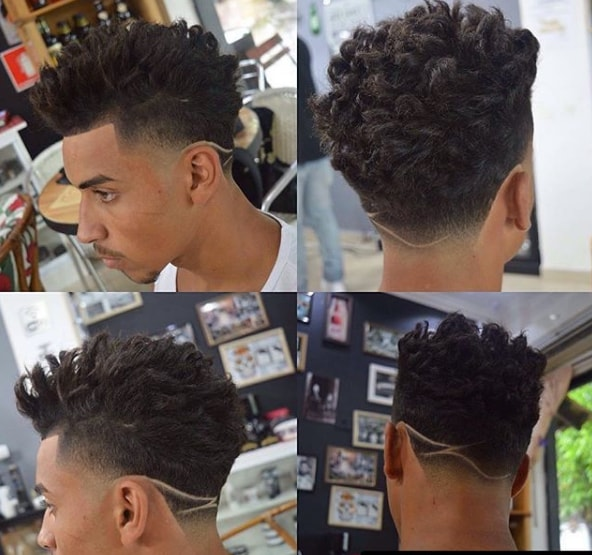 High Top Fade with Curl Hairs & Back Wave Design