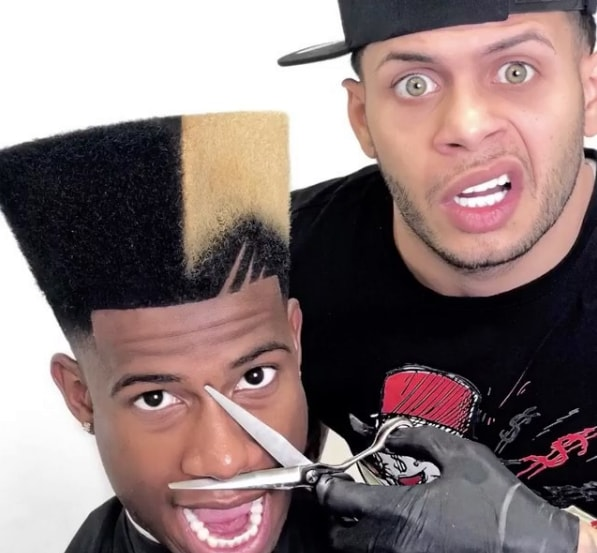 Long High Top Fade with Color Design