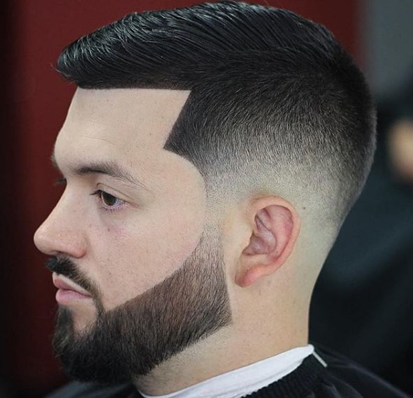 Slicked Side Swept Hairstyle With Beard