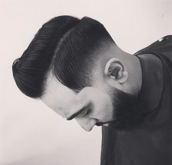 Side Swept Quiff With Low Fade
