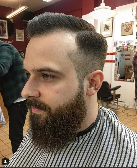 Low Fade Pompadour with Complete Beard Style
