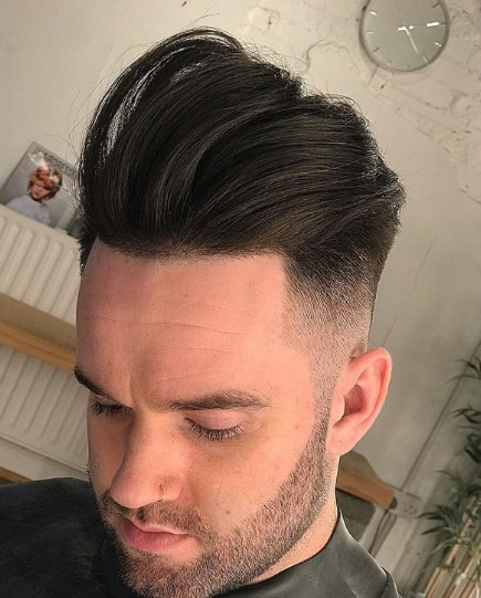 Comb Over with Mid Fade Medium Length Hairs