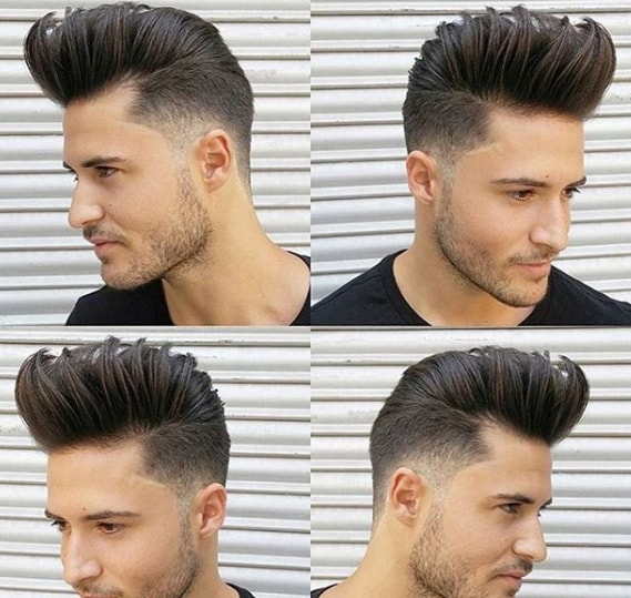 High Quiff with Skin Fade Men Hairstyle