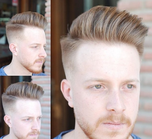 Pompadour Fade + Thick Part Men Hairstyle